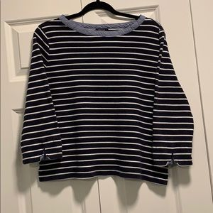 Nautica Blue/White Stripped 3/4 Sleeve Top